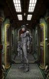 Futuristische militair binnen ruimteschip vector illustratie
