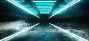 Futuristische moderne Retro- glühende NeonBlaulichter Rauch Cyber vibrierende dunkle Sci FI im dunkler leerer Schmutz-reflektier lizenzfreie abbildung