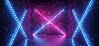 Futuristische moderne Retro- kreuzförmige Neonlicht-glühendes Steigungs-Rosa-purpurrotes Blau Sci FI in den dunklen leeren Raum-Z stock abbildung