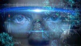 Futuristische monitor op gezicht met code en informatiehologram Oog hud animatie Toekomstig concept