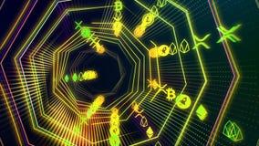 Futuristische naadloze technologiecyberspace tunnel met de lijn van de cryptocurrencystroom royalty-vrije illustratie