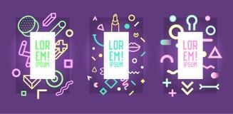 Futuristische Neonkaders met Abstracte Geometrische Elementen Modern Art Graphics voor Vliegers, Affiches, Banners, Aanplakbiljet vector illustratie