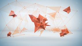 Futuristische netwerkvorm Abstracte 3D geeft terug Stock Afbeeldingen