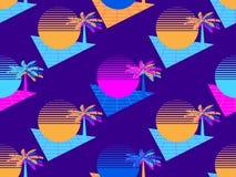 Futuristische Palme und nahtloses Muster der Sonne Hintergrund-achtziger Jahre Art Synthwave Retro- Retrowave Vektor lizenzfreie abbildung