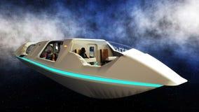 Futuristische passagiersbus die in ruimte vliegen Vervoer van de toekomst het 3d teruggeven royalty-vrije illustratie