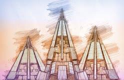 Futuristische Piramidesstad van Wolkenkrabbers Royalty-vrije Stock Foto's
