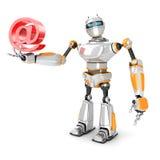 Futuristische Robot met Rood BIJ E-mailsymbool Hi-Tech Communicatio Stock Afbeeldingen