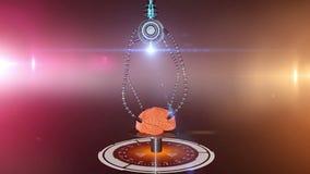 Futuristische robot met tentakels en menselijke hersenen Medische concepten anatomische toekomst vector illustratie