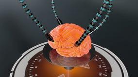 Futuristische robot met tentakels en menselijke hersenen Medische concepten anatomische toekomst royalty-vrije illustratie