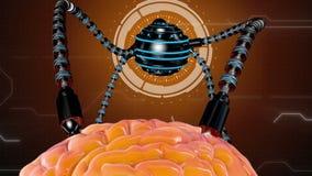 Futuristische robot met tentakels en menselijke hersenen Medische concepten anatomische toekomst stock illustratie