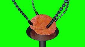Futuristische robot met tentakels en menselijke hersenen Medische concepten anatomische toekomst Het groene scherm royalty-vrije illustratie