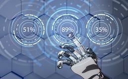 Futuristische Roboterhand, die auf Ladenkreisring zeigt Wiedergabe 3d Lizenzfreie Stockfotografie