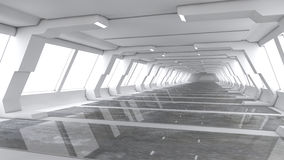Futuristische ruimteschip binnenlandse gang Royalty-vrije Stock Foto's