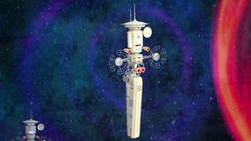Futuristische ruimtestationanimatie stock videobeelden