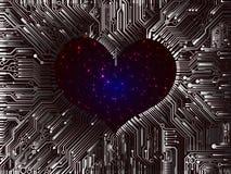 Futuristische ruimtevalentine gelaagde computereenheden met meningen van vector illustratie