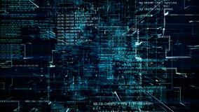 Futuristische samenvatting die blauwe code naadloze flythrough programmeren vector illustratie