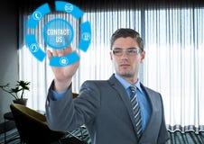 Futuristische Schnittstelle in einem Büro mit dem Zeichen treten mit uns in Verbindung Lizenzfreies Stockbild