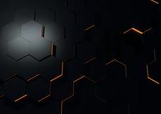 Futuristische schwarze reflektierende Oberflächenzusammenfassung 3d übertragen Stockfotografie