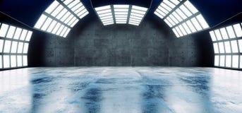 Futuristische Sci FI moderner leerer großer Hall Dark Grunge Reflective Concrete kurvte großes weißes Blaulicht-Studio-Stadiums-l stock abbildung