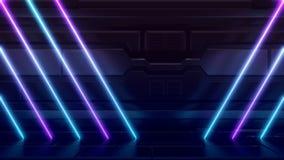 Futuristische Sciencefiction extrahieren die blauen und purpurroten hellen Neonformen auf reflektierender METALLraumschiff-WAND L stock abbildung
