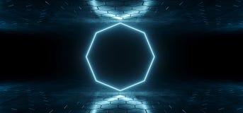 Futuristische Sciencefictions-blaue glühende Neonröhre-Achteck-geformte Lichter I vektor abbildung