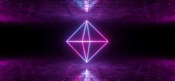 Futuristische Sciencefictions-blaue purpurrote glühende Neonröhre Diamond Shaped L vektor abbildung