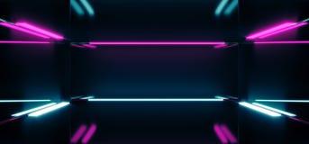 Futuristische Sciencefictions-leerer dunkler reflektierender moderner Stadiums-Raum mit B Vektor Abbildung