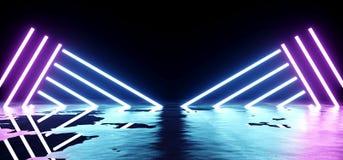 Futuristische Sciencefictions-modernes leeres Stadium reflektierendes konkretes nasses Wat Vektor Abbildung