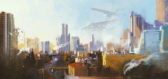 Futuristische Sciencefictionsstadt mit Wolkenkratzer vektor abbildung