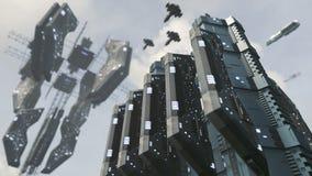 Futuristische Scifistadt mit eindrucksvoller Raumstation Wiedergabe 3d Stockfotos