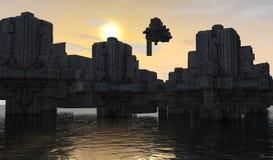 Futuristische stad Royalty-vrije Stock Afbeeldingen