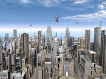 Futuristische stad Royalty-vrije Stock Foto's