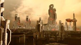 Futuristische stad Stock Afbeeldingen