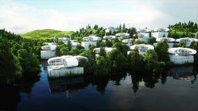 Futuristische stad, dorp Het concept de toekomst Lucht Mening Realistische 4K animatie stock video