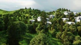 Futuristische stad, dorp Het concept de toekomst Lucht Mening Realistische 4K animatie stock footage