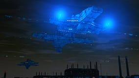 Futuristische stad en schepen Stock Afbeelding