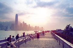 Futuristische stad Hong Kong Stock Foto's