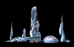 Futuristische stadsarchitectuur voor fantasie en zieke science fiction royalty-vrije illustratie