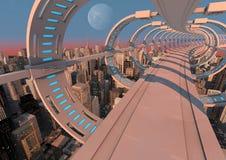 Futuristische stadsbrug Royalty-vrije Stock Afbeeldingen