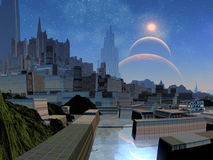 Futuristische Stadt auf ausländischer Welt Stockfotos