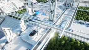 Futuristische Stadt, Stadt Das Konzept der Zukunft Schattenbild des kauernden Geschäftsmannes Realistische Animation 4K stock abbildung
