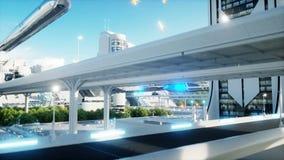 Futuristische Stadt, Stadt Das Konzept der Zukunft Schattenbild des kauernden Geschäftsmannes Realistische Animation 4K vektor abbildung