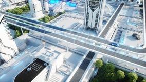Futuristische Stadt, Stadt Das Konzept der Zukunft Schattenbild des kauernden Geschäftsmannes Wiedergabe 3d vektor abbildung