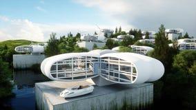 Futuristische Stadt, Dorf Das Konzept der Zukunft Schattenbild des kauernden Geschäftsmannes Wiedergabe 3d lizenzfreie abbildung