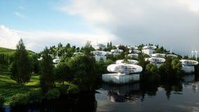 Futuristische Stadt, Dorf Das Konzept der Zukunft Schattenbild des kauernden Geschäftsmannes Wiedergabe 3d vektor abbildung