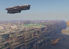 Futuristische Stadt im Himmel Lizenzfreies Stockbild