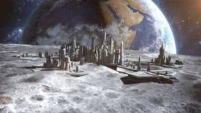 Futuristische Stadt, Stadt auf Mond Die Raumansicht der Planetenerde Wiedergabe 3d Lizenzfreies Stockfoto