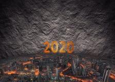 Futuristische Szene für bevorstehende 2020 als Denken außerhalb des Kastens Co Stockbild