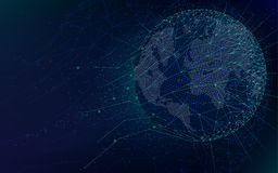 Futuristische Technologien der Sciencefiction, globales Netzwerk mit Weltkarte, abstrakter Hintergrund des unbegrenzten Raumes de lizenzfreie abbildung