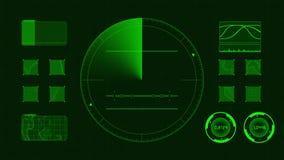 Futuristische technologische interface Groene achtergrond GUI stock illustratie